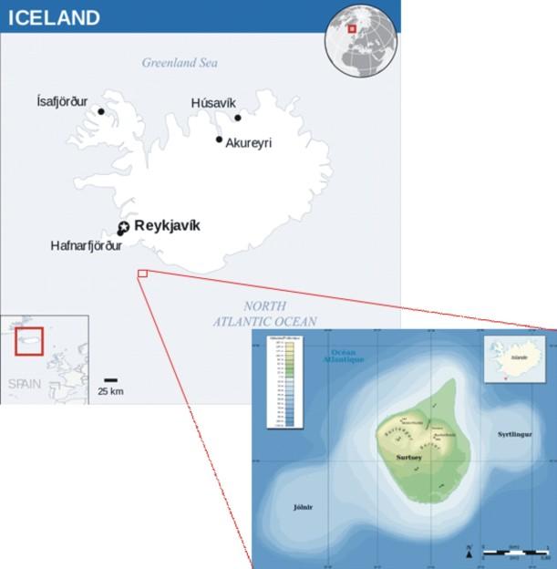 Keterangan gambar: Letak geografis Islandia dan Pulau Surtsey. (A) Negara Islandia berada di Barat Laut Eropa, (B) Pulau Surtsey terletak di Selatan Islandia. Pulau Surtsey terbentang dari permukaan laut hingga ketinggian 154 m, dan dipercaya terus berkembang. Photographs copyright by Wikipedia.